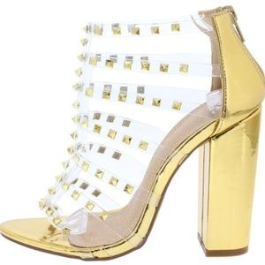 Gold Clear Strappy Open Toe Studded Chunky Heels